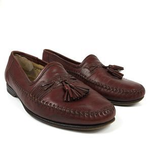 Santoni Stitched Leather Lizard Tassel Loafers 9.5